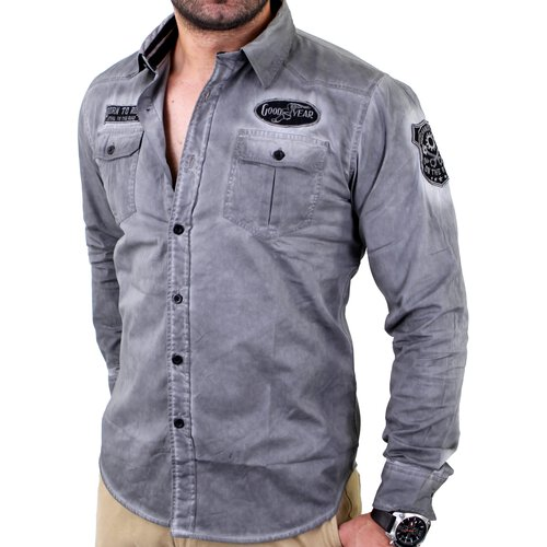 outlet store a261b 31c10 Goodyear Herren MOBILE Vintage Slim Fit Langarm Hemd GY-400225 Anthrazit
