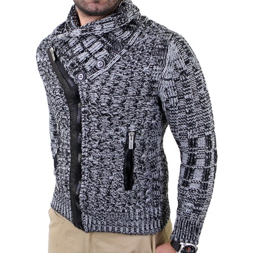 Redbridge Herren Grobstrick Zipper Schalkragen Pullover Strickjacke RB-41550
