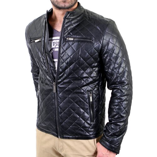 Redbridge Lederjacke Herren Kunstleder Diamond-Stich-Look RB-41476 Schwarz