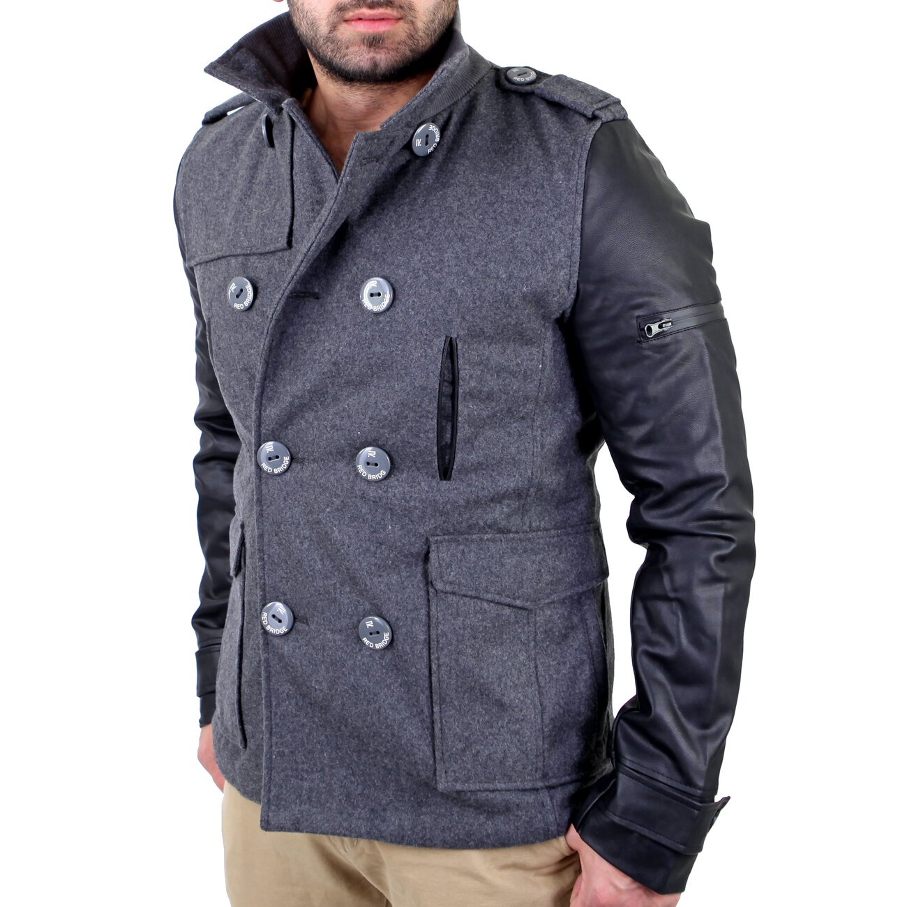 Redbridge Mantel Herren Material Mix Jacke Kurz Mantel RB 41485