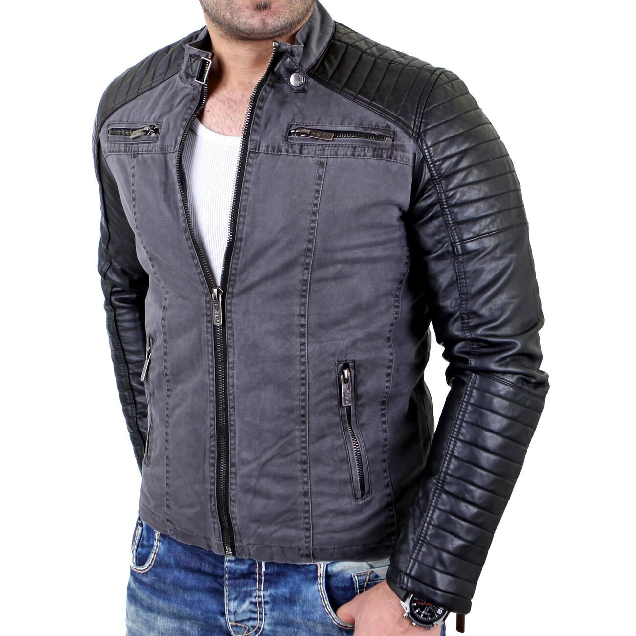 redbridge lederjacke herren biker kunst lederjacke rb 41451 anthrazit. Black Bedroom Furniture Sets. Home Design Ideas
