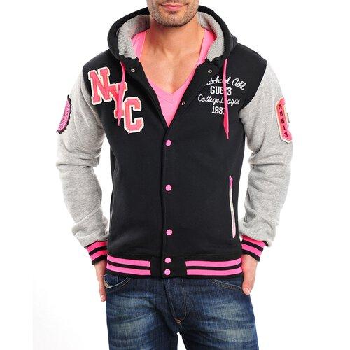 area2buy DE Gangster Unit College Jacke Herren All Fluo Oldschool Baseball Jacke GU-613 Schwarz-Pink L