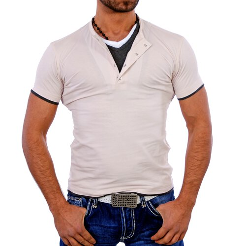ReRock T-Shirt Herren V-Neck Club Layer Style Shirt RR-1410