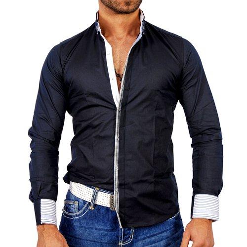 Polim Pier Herren Hemd Designer Langarmhemd PP-884 Navy 2XL PP-884-0015