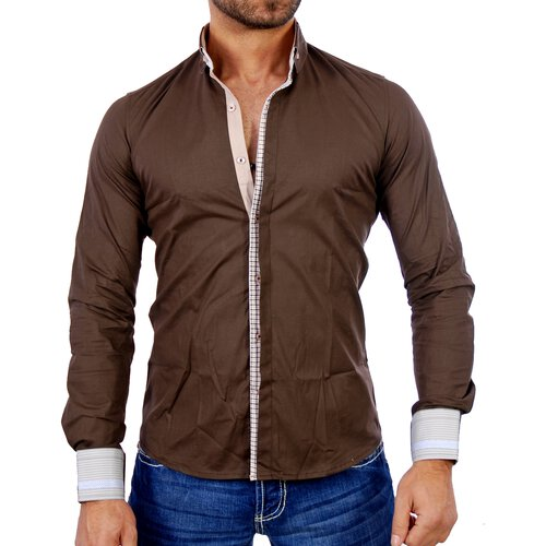 Polim Pier Herren Hemd Designer Langarmhemd PP-884 Braun XL PP-884-0019