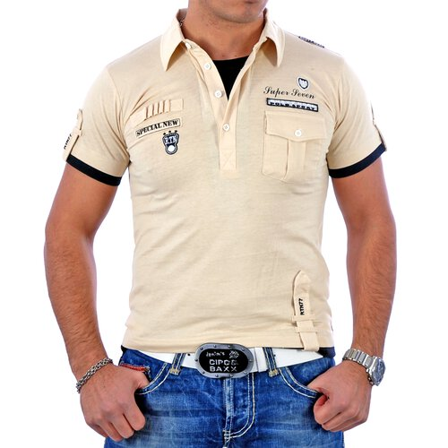 Rusty Neal T-Shirt 2in1 Layer Style Polo V-Neck Shirt RN-301