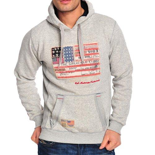 Gangster Unit Sweatshirt Herren Flag America Hoodie GU-618 Grau S GU-618-0001