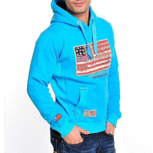 Gangster Unit Sweatshirt Herren Flag America Hoodie GU-618 Türkis L GU-618-0013