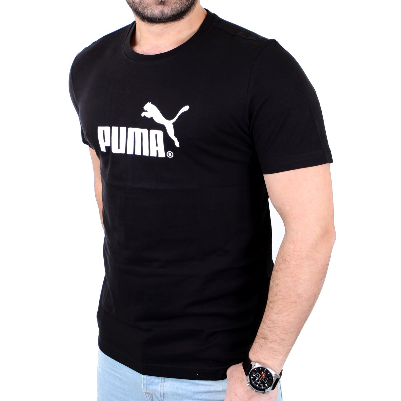 puma t shirt herren large no 1 logo tee pu 823979 schwarz wei. Black Bedroom Furniture Sets. Home Design Ideas