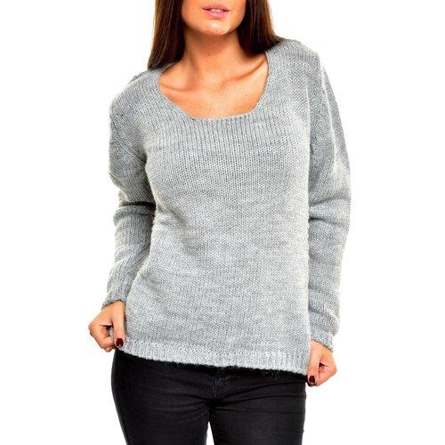 tazzio pullover damen winter strickpullover tz 901 grau xs. Black Bedroom Furniture Sets. Home Design Ideas