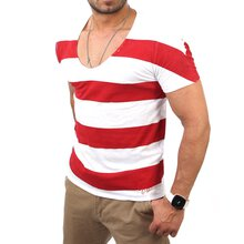 Vsct V-5640798 Wide O-Neck Lava Stripes T-Shirt Rot
