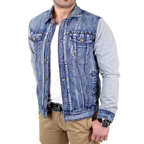 Reslad Jeansjacke Herren 2in1 Denim-Jersey-Mix RS-17 Blau-Grau