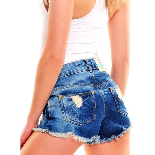 Tazzio Shorts Damen High Waist Destroyed Look Pailletten Jeans Hotpants TZ-801 Blau