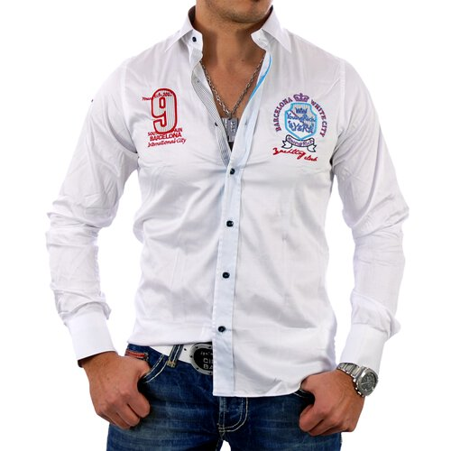 Young & Rich Herren Hemd Club Polo Party Design Langarmhemd YR-6040
