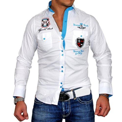 Young & Rich Herren Hemd Club Polo Exklusiv Langarmhemd YR-6051 YR-6051