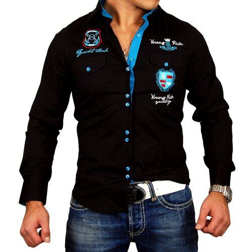 Young & Rich Herren Hemd Club Polo Exklusiv Langarmhemd YR-6051 Schwarz-Türkis S YR-6051-0006