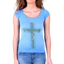 Tazzio T-Shirt Damen Artwork Crucifix Kreuz Shirt TZ-710