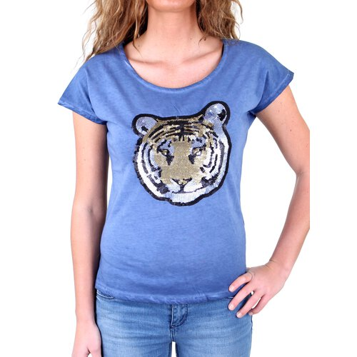 Tazzio T-Shirt Damen Paillietten Artwork Tiger Shirt TZ-714