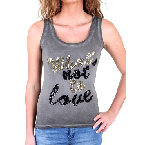 Tazzio Tank-Top Glitter Pailletten Artwork Shirt Top TZ-716