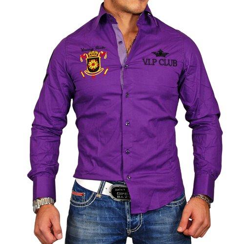Young & Rich Herren Hemd Authentic Club Design Langarmhemd YR-6026 Lila S YR-6026-0009