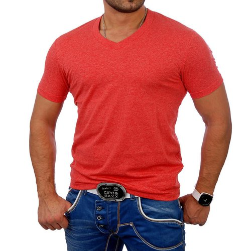 Urban Classics T-Shirt Herren Authentic Melange Style V-Neck Shirt TB-368
