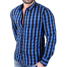 Reslad Herren Hemd Karo Checkered Langarmhemd RS-5304