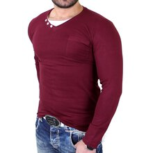 Reslad Langarmshirt Herren 2in1 Layer Style V-Neck...