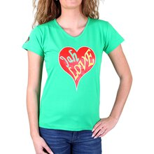 Headshot T-Shirt Damen Jah Love V-Neck Print Shirt HS-003...