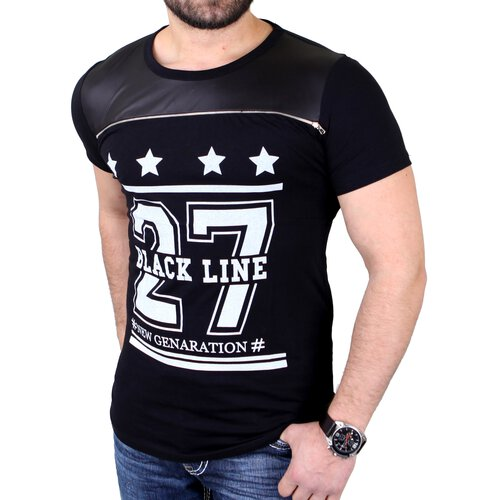 Reslad T-Shirt Herren Black Line Stars Deko Zipper Shirt RS-1311