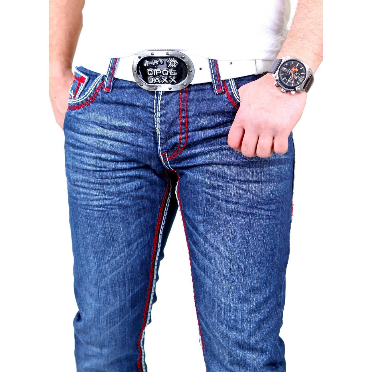 herren jeans used look reslad dicke naht jeans g nstig. Black Bedroom Furniture Sets. Home Design Ideas