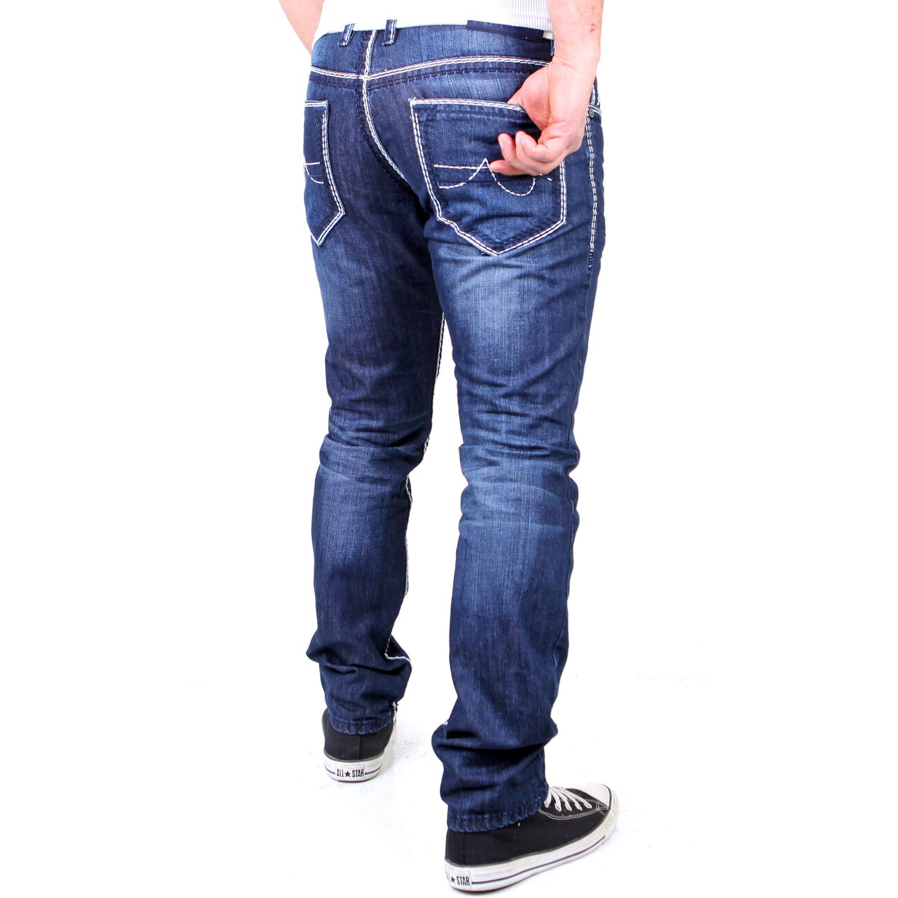 reslad herren jeans dicke kontrast naht used look. Black Bedroom Furniture Sets. Home Design Ideas