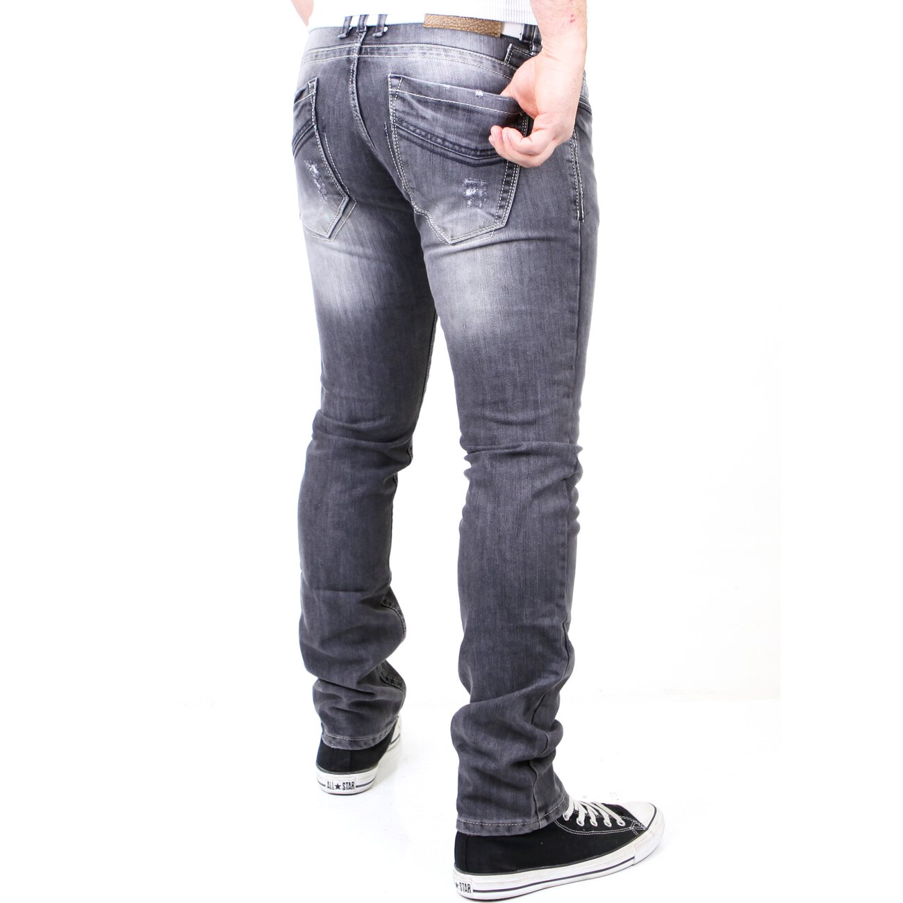 reslad herren jeans used style vintage look jeanshose rs 5895 grau w. Black Bedroom Furniture Sets. Home Design Ideas