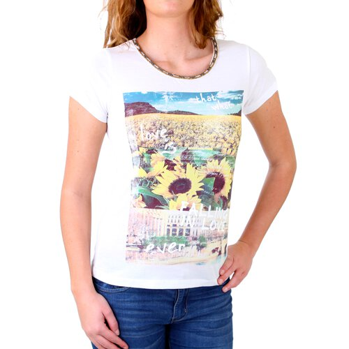 Madonna T-Shirt Damen TIRIL Rundhals mit Perlen Sunflower Print Shirt MF-406981