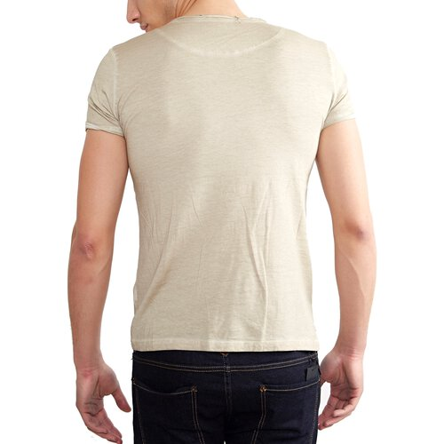Tazzio T-Shirt Herren Buttoned Vintage Style Washed O-Neck Shirt TZ-15116