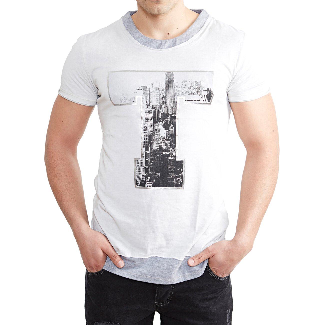 Tazzio Fashion Rundhals-Shirt Herren T-Shirt mit Knopfleiste Anthrazit//Weiß