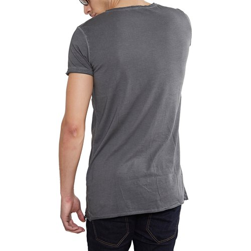 Tazzio T-Shirt Herren Asymmetrisch Faded Vintage Washed Look Shirt TZ-15125