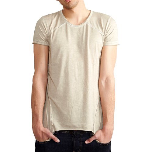 db4c43837974fd ... Tazzio T-Shirt Herren Asymmetrisch Faded Vintage Washed Look Shirt TZ- 15125 ...