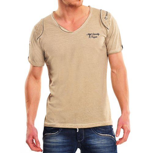 Tazzio T-Shirt Herren Vintage Style Zipper-Applikationen V-Neck Shirt TZ-14110