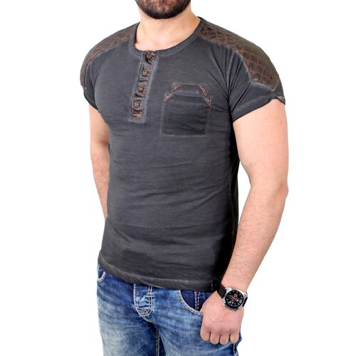 Tazzio T-Shirt Herren Kunst- Lederimitat Patched Buttoned Shirt TZ-15136