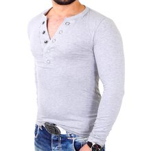 Reslad Langarmshirt Herren Authentic Big Button V-Neck...