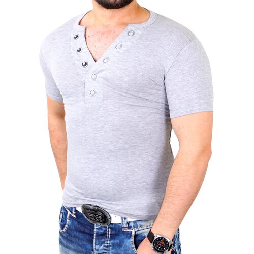 Reslad T-Shirt Herren Casual Basic Big Button V-Neck Style Shirt RS-621
