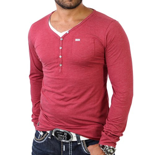 Redbridge R-1652 Layer Style V-Neck Longshirt Longsleeve Rot