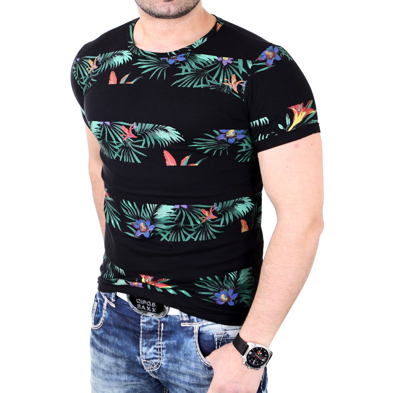 4cdc5014020c0c Reslad T-Shirt Herren Floral Stripes Design Rundhals Shirt RS-7666 Sc