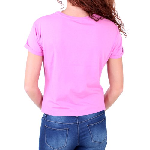Madonna T-Shirt Damen ZAIN Rundhals Pailleten Aufdruck Short Cut Shirt MF-406974