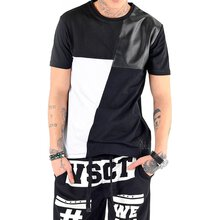 VSCT T-Shirt Herren Leder Patch Colour Block Rundhals...