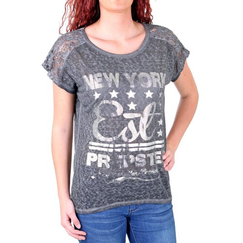 Madonna T-Shirt Damen JOSIANE New York Silber Print Shirt MF-741535