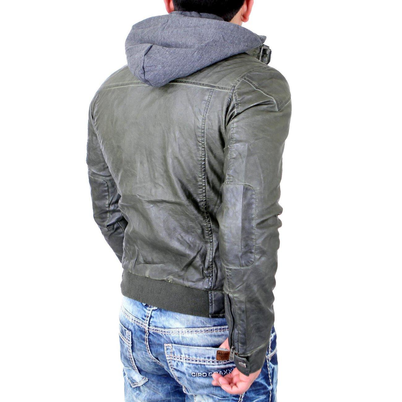 reslad lederjacke herren kunst lederjacke abnehmbarer kapuzen sweater. Black Bedroom Furniture Sets. Home Design Ideas
