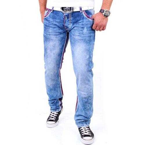 168f9dfb992a Reslad Herren Jeans Dicke Kontrast Doppel-Naht Used Look Jeanshose
