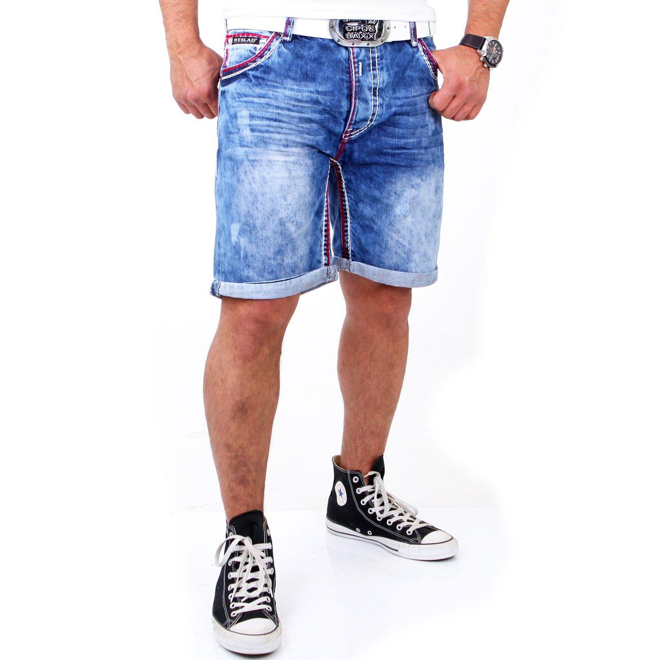 jeans shorts mit dicken n hten reslad jeans bermuda. Black Bedroom Furniture Sets. Home Design Ideas