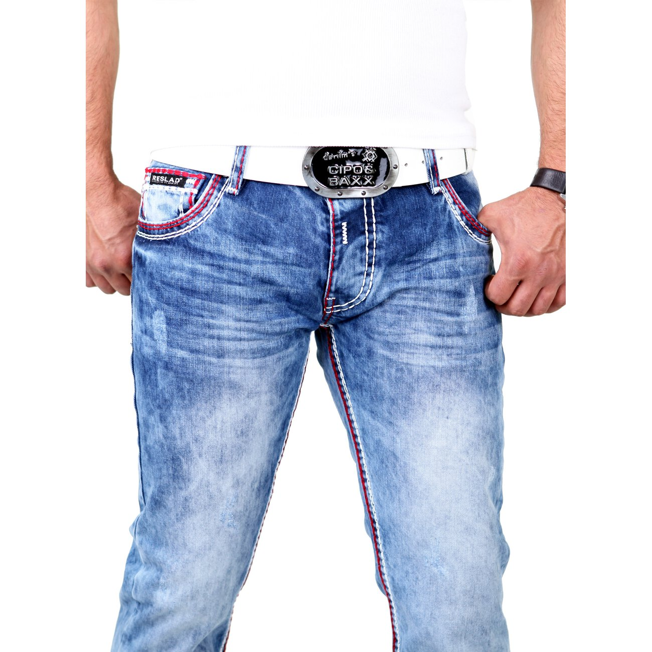 reslad herren jeans dicke kontrast doppel naht used look. Black Bedroom Furniture Sets. Home Design Ideas